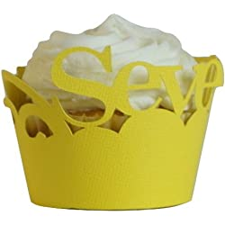 "All About Details CWRSEVE Seventy Cupcake Wrappers Set of 12 (Lemon), 3"" in top diameter, 2"" in bottom diameter and 1.75"" height, Yellow"