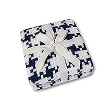 "Soft Lap Plaid Throw Blanket-Soo Angeles 100% Acrylic Woven Yarn Dyed Fringed Plaid Throw Blanket Bed Blankets Bedspread Soft Cozy Blanket Navy Blue PLAID 50"" W x 67"" L"