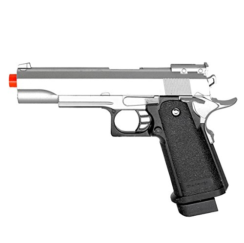 bbtac airsoft pistol bt-g1911 silver 1911 airsoft spring powered pistol gun, zinc alloy construction, aim sights, 300+ fps, with bbtac warranty & tech support(Airsoft Gun)