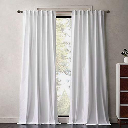 Tiny Break 100% Cotton Room Darkening Curtains Window Shades, Privacy Protect Sunlight Block Back Tab & Rod Pockets Top for Living Room/Kitchen/Studio Backdrop, 55