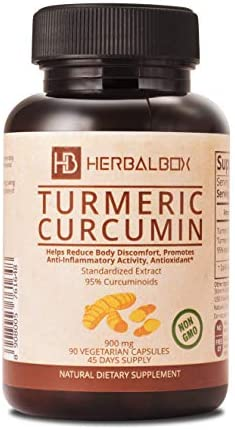 Premium Turmeric Curcumin Vegetarian Capsule 900 mg with 95 Curcuminoids 90 Capsules Anti Inflammatory Joint Pain Relief Healthy Inflammatory Response, Non-GMO Turmeric Antioxidant *