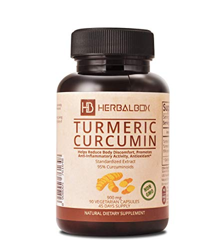 Turmeric Curcumin Natural Herbal Supplement Anti Inflammatory Joint Pain Relief Ayurvedic 90 Vegetarian Capsule 900 mg with 95 Percent Curcuminoids