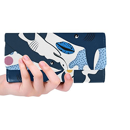 Great Clutch Trifold Shells Meow Wallets Dinosaur Women's Corals and Wallet Starfishes Sharks Silly Gift Long Custom Women's OY8vxvCwq
