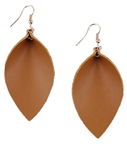 stylesilove Womens Handmade Lightweight Bohemian Leaf Drop Leather Earrings (Khaki)