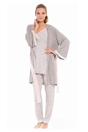 Olian ''Anne'' Nursing Stripe Cami/Pajama Set with Baby Gown, Grey Stripes, Large by Olian (Image #2)