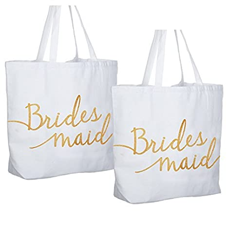 bcf1e209e2 Image Unavailable. Image not available for. Color: ElegantPark Bridesmaid  Jumbo Tote Bag Wedding Gifts Canvas 100% Cotton Interior Pocket White with  Gold