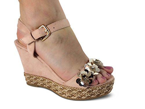 Sandaletten Rosa Wedge Sandalen Damen Glitzer Plateau Heels ST81 Keilabsatz Blumen High Schuhtraum qUzxF7wP