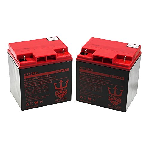 Sealed Battery 26ah Acid Lead (Neptune 12V 26Ah NT-12260 Rechargeable Battery - Larger HIGH CAPACITY Solar SLA Sealed Lead Acid Battery - 2 Pack)