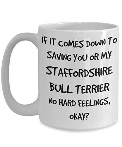 (Funny Staffordshire Bull Terrier Coffee Mug White Ceramic Tea Coffee Cup - 11 oz)