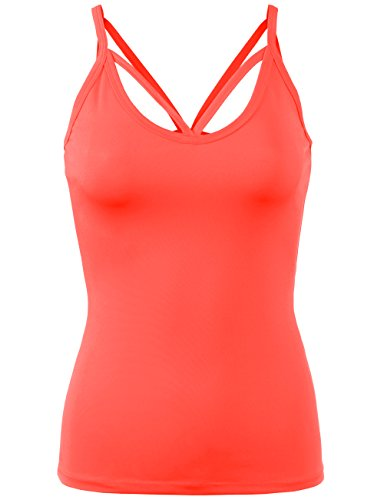 BEKTOME Womens Solid Basic Sweetheart Neck Cami Tank Top Active Wear -M-Coral Heart Cami