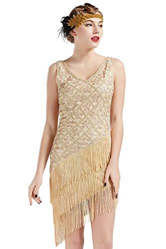 BABEYOND 1920s Vintage Flapper Sequined Dress Gatsby Fringed Dress Roaring 20s Party Dress V-Neck (Beige, -
