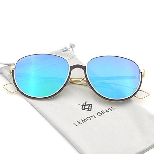 Womens Fashion Cat Eye Oversize Black Metal Frame/Blue Lens Mirrored Sunglasses - Cleaning Parker Warby Cloth