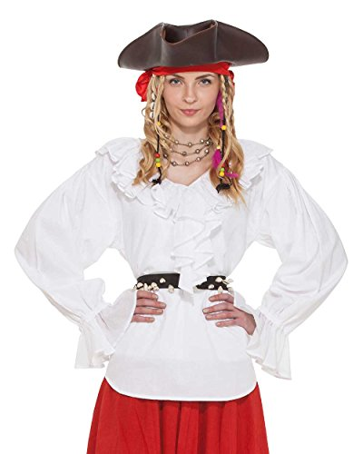 Pirate Renaissance Medieval Wench Womens Costume Carrie Oates Blouse [White] (Medium)