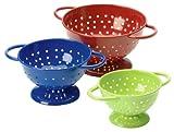 Prepworks by Progressive Powder-Coated Steel Colanders Set of 3 (4'', 3 1/4'' and 2 1/2'' Diameter) Red, Blue and Green Mini Colander, Fruit Vegetable Strainer