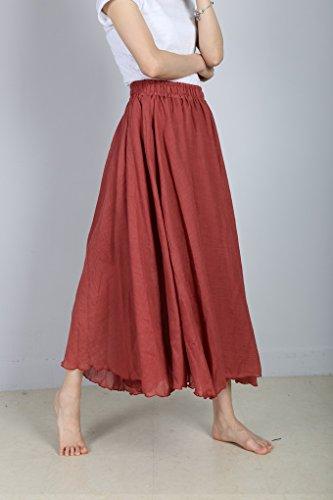 lastique Jupe Evedaily en Long Coton Taille Femme Taille Longue Rouge Skirt Haute Pliss Lin S5Z0q5w