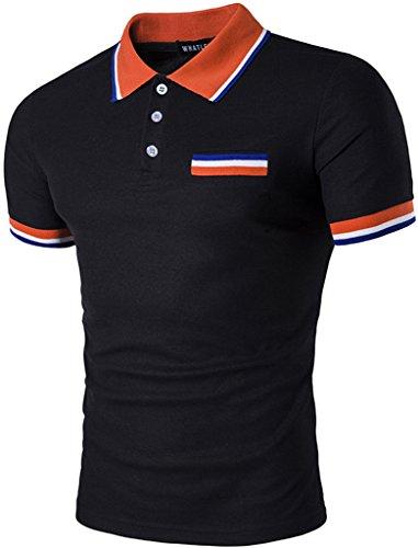 Whatlees Mens Boys Short Sleeve Contrast Stripes Collar Breathable Button Down Golf Office Polo Shirt B467-Black-M