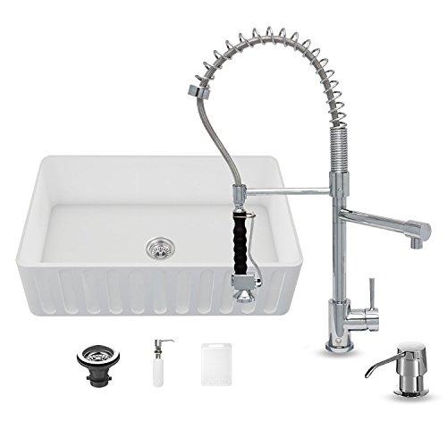 Find Discount VIGO 33 inch Farmhouse Apron Single Bowl Matte Stone Kitchen Sink and Zurich Chrome Fa...