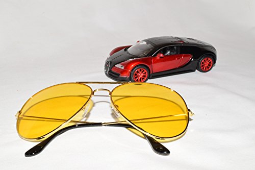 Driver-Rx 'Viper' -Special DESIGNER Driving Glasses with Amber Tint Helps Your Vision While Driving Blue Ray, UV Protection, Anti Fatigue, Relieves Eye Strain. Stylish, Unisex. FREE Case & - Night Amber Glasses Driving