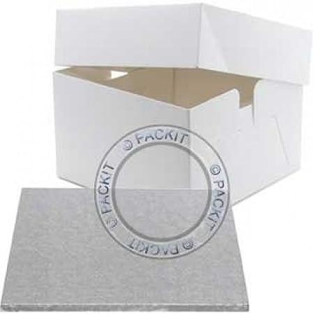 Tabla cuadrada para tarta de 20 cm y caja de regalo para ...