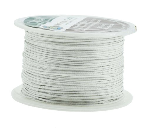 White Wax Cord - Mandala Crafts 1mm 109 Yards Jewelry Making Beading Crafting Macramé Waxed Cotton Cord Thread (White)