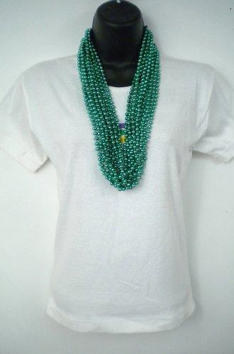 33 inch 07mm Round Metallic Dark Green Mardi Gras Beads - 6 Dozen (72 Necklaces)