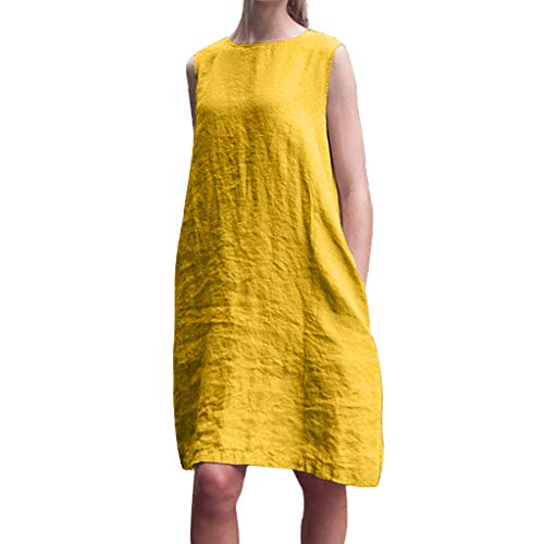 KINGOLDON Summer Dresses for Women Crew Neck Dress Women Dresses Shift Daily Casual Plain Cotton Dresses Orange Yellow