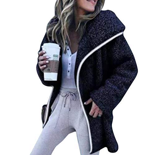 Casual Col Manteaux Femme Hiver Veste Bleu Manteau Longues Pour Cardigan Revers À Manches Sunmiy Avec qvP86RwR