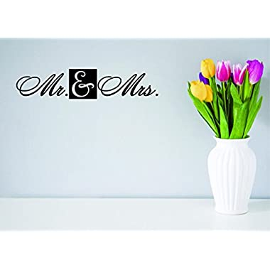 Design with Vinyl Moti 2663 1 Decal - Peel & Stick Wall Sticker : Mr. & Mrs. Love Life Wedding Quote Color: Black Size 8 Inches x 20 Inches