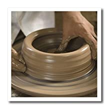 "3dRose ht_86881_3 Nicaragua, Catarina. Pottery Wheel & Clay Sa14 Jme0128 John & Lisa Merrill Iron on Heat Transfer, 10 by 10"", For White Material"