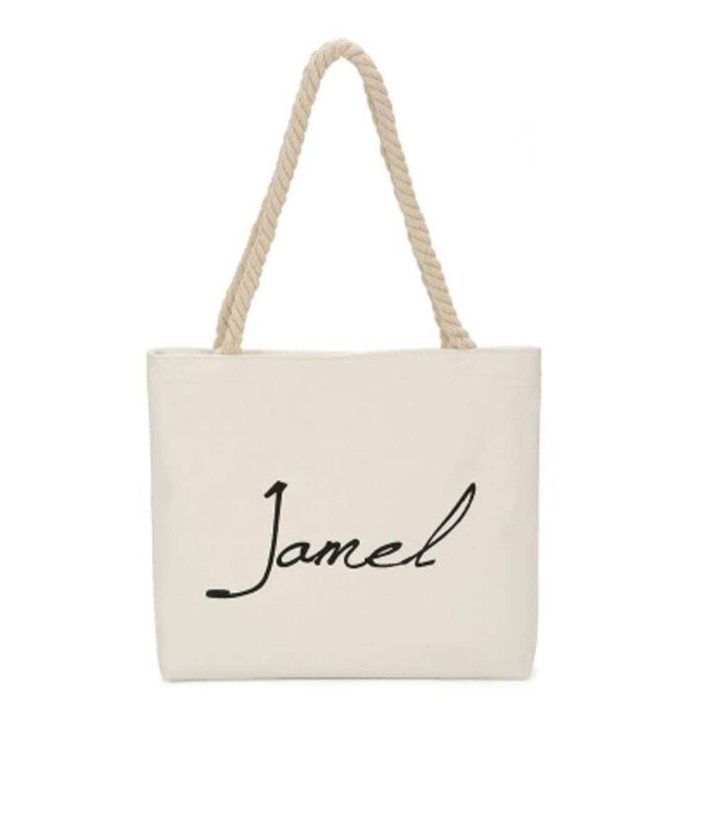 WHXYAA Jamel Printed Canvas Bag Shoulder Bag Tote Bag Ladies Large-Capacity Shopping Bag White Simple Atmosphere