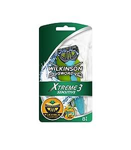 Wilkinson Sword - Xtreme 3 Sensitive - Maquinillas de afeitar desechables para hombre para pieles sensibles - 8 unidades