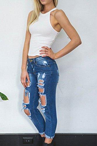 Mujer arrancó agujero Denim Jeans largo Blue2