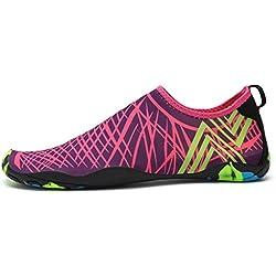 Water Shoes Mens Womens Beach Swim Shoes Quick-Dry Aqua Socks Pool Shoes for Surf Yoga Water Aerobics Purple 8 B(M) US Women / 7 D(M) US Men