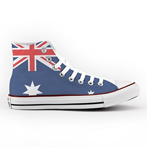 Converse Personalizzate All Star Alta - scarpe artigianali - Australian Flag Multicolor