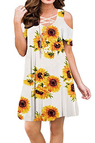 BLUETIME Women Sexy Summer Dresses Floral Printed Cold Shoulder Beach Casual Dresses Knee Length (M, Floral5)