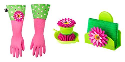 Vigar Flower Power Cuffed Gloves, Palm Brush, Sponge & Holder Dishwashing Set by Vigar