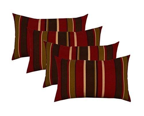 RSH Décor Set of 4 Indoor/Outdoor Lumbar Rectangular Throw Pillows (12''x21'') Brown, Burgundy, Tan Stripe by RSH Décor
