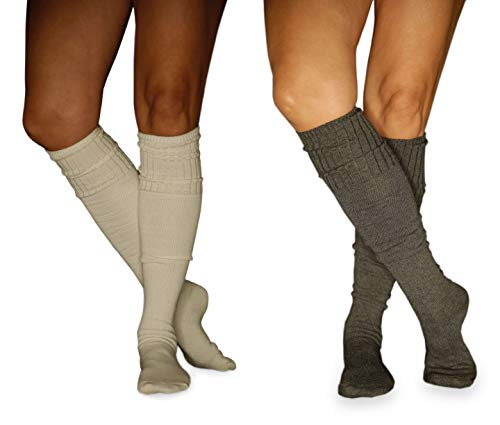 Womens Knee High Socks for Boots, Multi-Color in 2 Pack by Lucky Love (Cream/Charcoal)