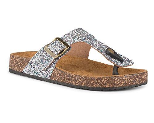 Twisted Women's Payton Cork Sole Thong Sandal - PAYTON56 Silver, Size ()