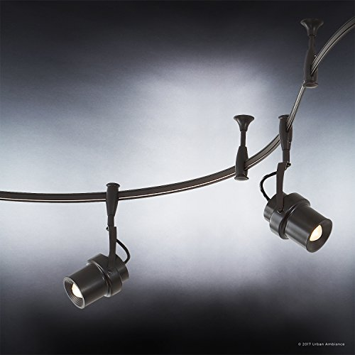 Luxury Modern LED Track Lighting, Large Size: 12''H x 4.7''W, with Cinema Style Elements, Swiveling Heads, Estate Bronze Finish and Glass Lens, Integrated LED Technology, UQL2211 by Urban Ambiance by Urban Ambiance (Image #4)
