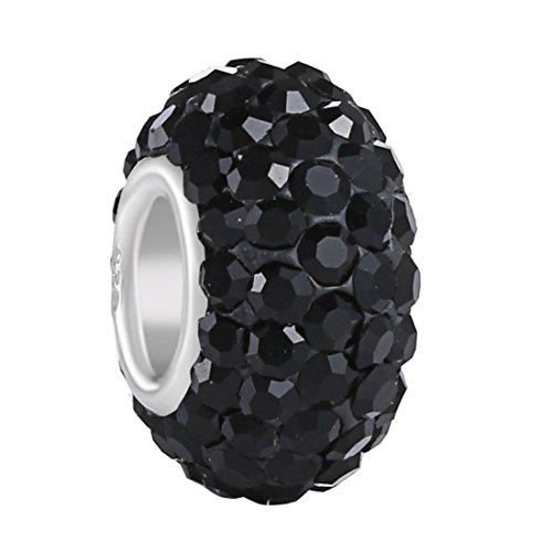 BoRuo Charms 925 Sterling Silver Czech Crystal Black Glass Ball Charms Beads Spacers Solid Core Charm Fit All Bracelets.