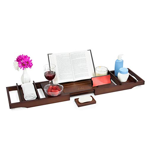 - Estala Bathtub Caddy, Wooden Luxury Bamboo Bath Tray with Extendable Sides, Tablet Holder, Cellphone Tray, Wine Glass Holder & Free Soap Dish - Ultimate Home Relaxation Gift