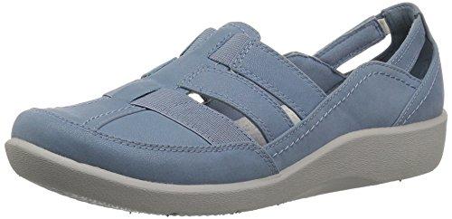 Nubuck Clarks Sandals (CLARKS Women's Sillian Stork Fisherman Sandal, Blue/Grey Synthetic Nubuck, 7 Medium US)