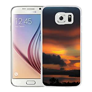 NEW Unique Custom Designed Samsung Galaxy S6 Phone Case With Red Sunset Over Lake_White Phone Case