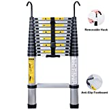 WolfWise 12.5FT Upgrade Widened Pedal Telescopic Ladder Decorative Aluminum Telescopic Stretch High Multi-Purpose Backpack