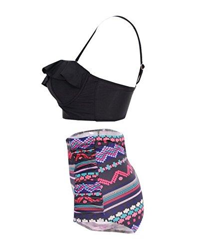 Beauty7 Damen Retro Stil Hoher Taille Bikini Set Elegant Badeanzug Push up High Waist Übergröße Bademode Swimsuit Plus Size Swimwear Zweiteilig Schwarz/Violett Druck 3cHH8Y
