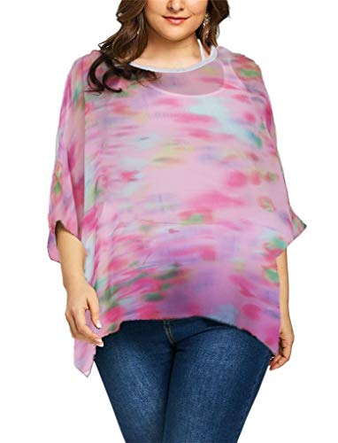 Fendxxxl Women's Plus Size Tops Loose Casual Batwing Sleeve Chiffon Blouse Floral Shirt Tunics 4278 ()