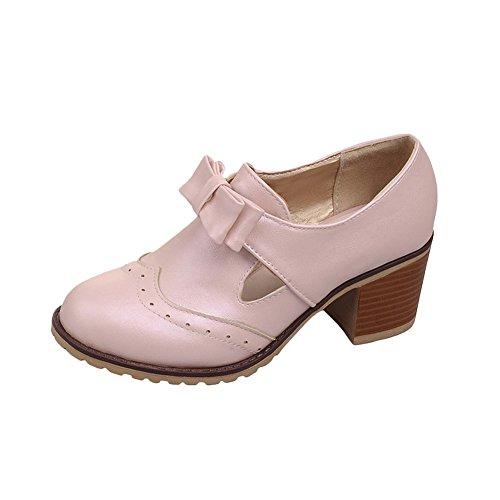 Mee Shoes Damen süß bequem dicker Absatz runder toe mit Schleife Spitze Geschlossen Pumps Pink