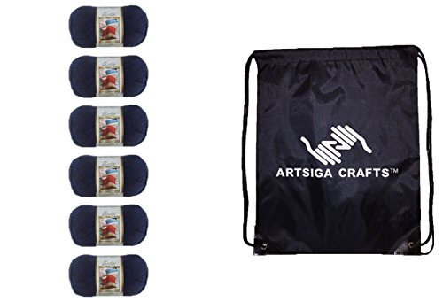 Bernat Satin Solid Yarn (6-Pack) Admiral 164104-04110 Bundle with 1 Artsiga Crafts Project Bag (Satin Acrylic Yarn)