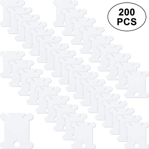 200 Pieces Plastic Floss White Bobbins for Cross Stitch Embroidery Cotton Thread for Craft DIY Sewing Storage (Dmc Plastic Bobbins)